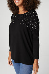 Black | Pearl Embellished Roll Sleeve Jumper