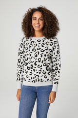 Grey | Leopard Print Relaxed Sweater