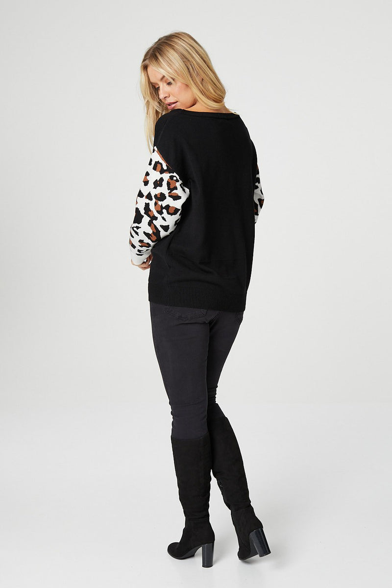 Black | Animal Print Sleeve Slouchy Jumper