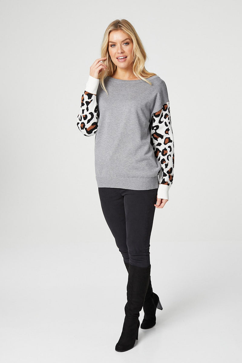 Grey | Animal Print Sleeve Slouchy Jumper