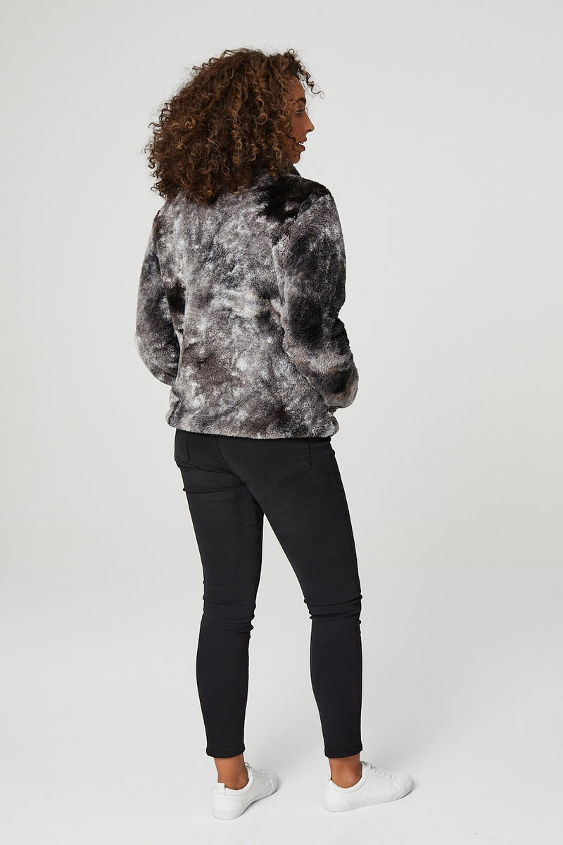 Dark Grey | Abstract Print Long Sleeve Fleece