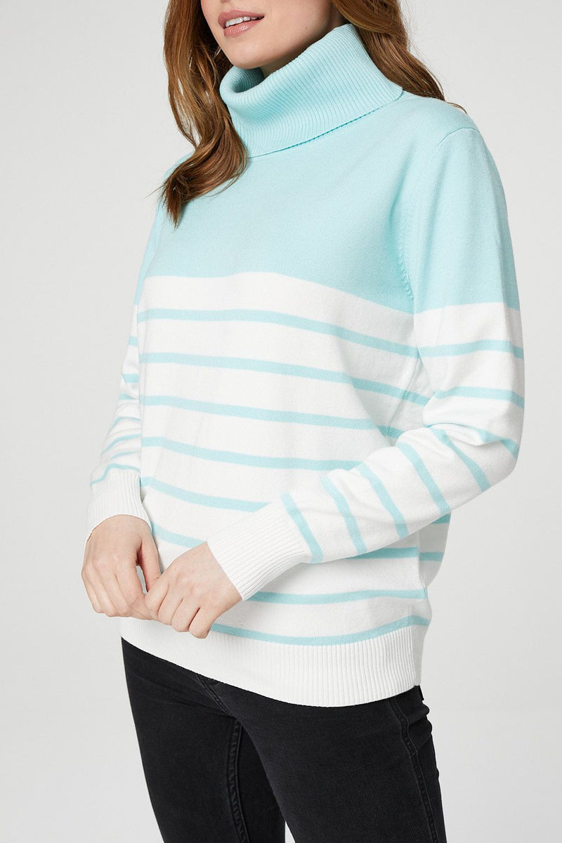 Blue | Striped Roll Neck Relaxed Jumper