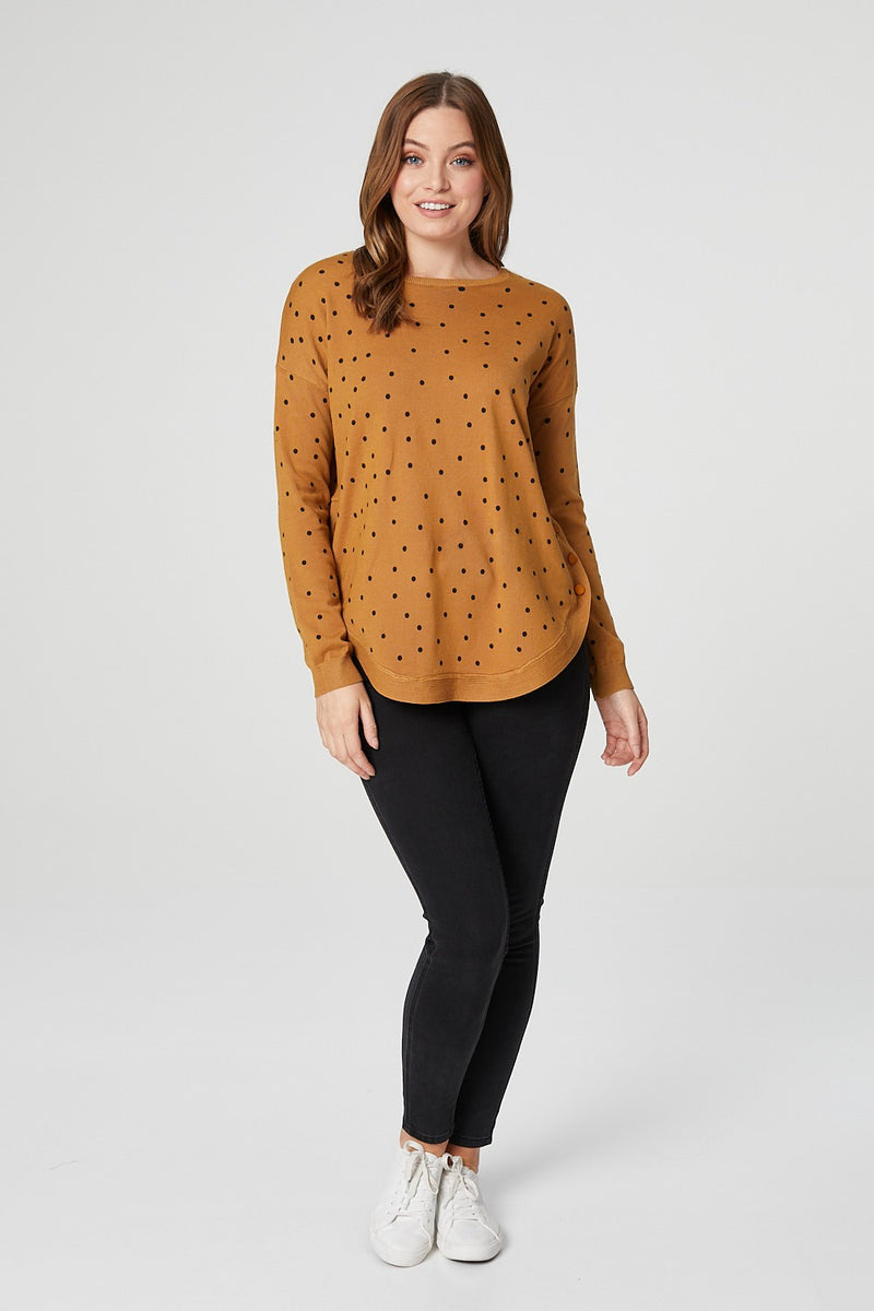 Mustard | Polka Dot Long Sleeve Jumper