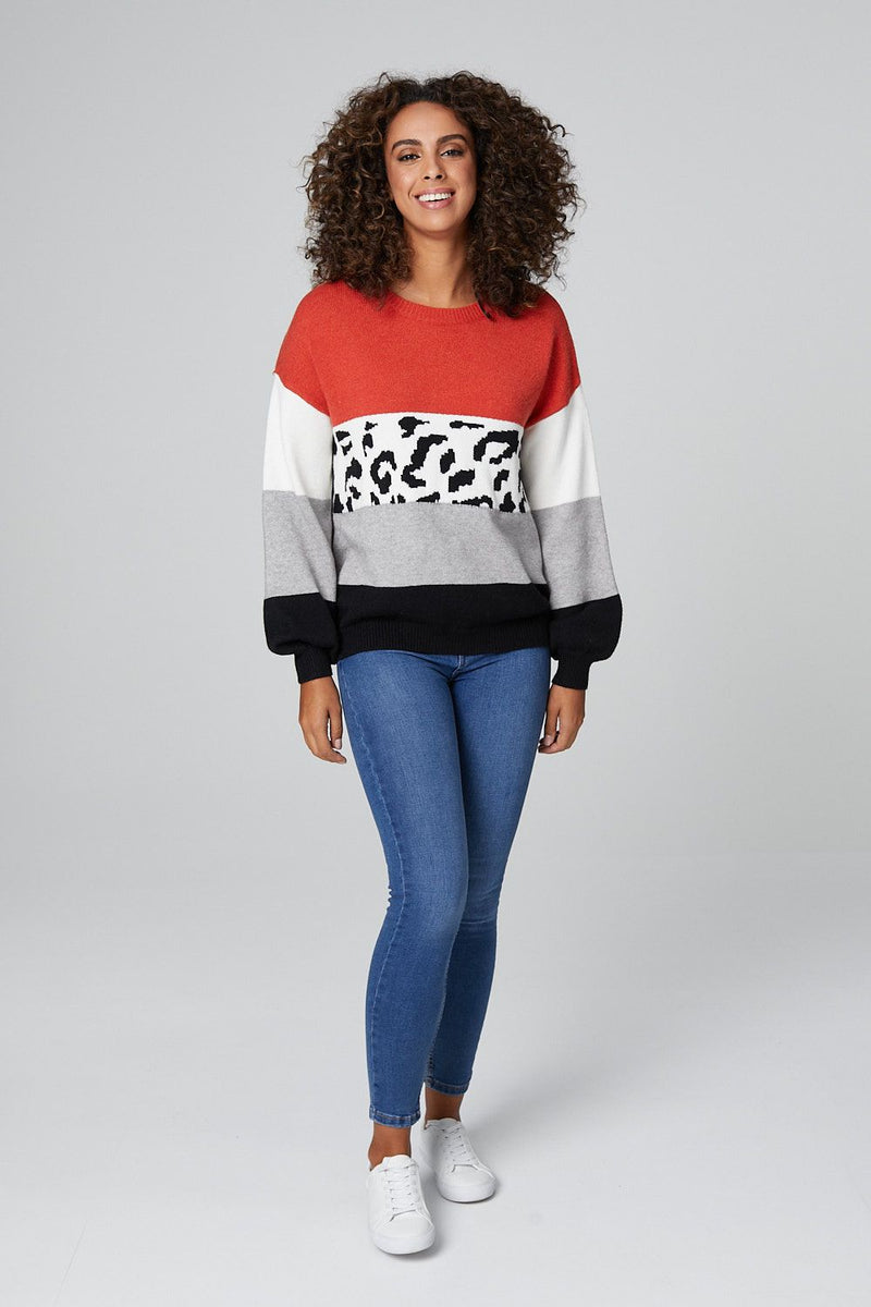 Rust | Animal Print Colour Block Knitted Jumper