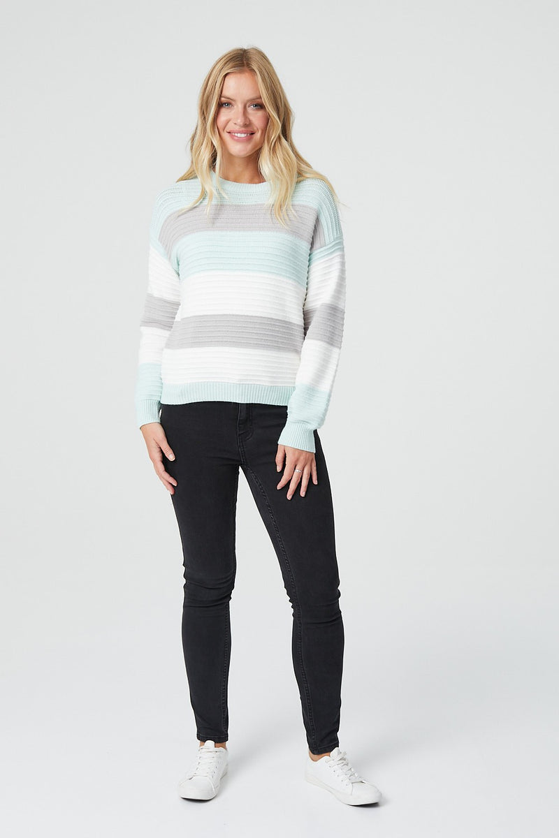 Green | Striped Long Sleeve Rib Knit Jumper