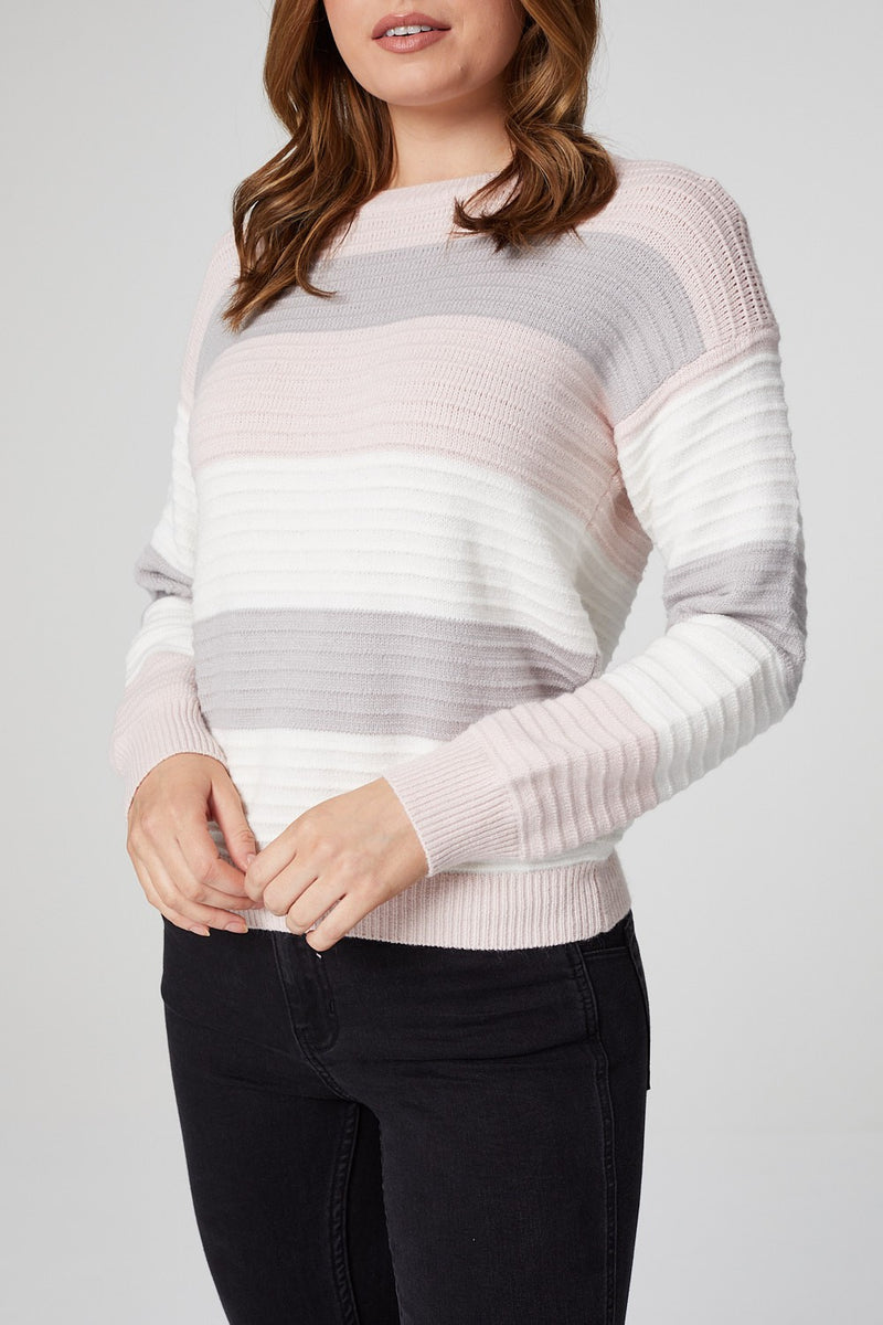 Pink | Striped Long Sleeve Rib Knit Jumper