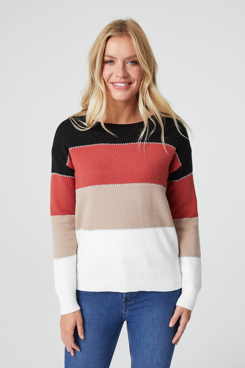 Black | Striped Colour Block Jumper