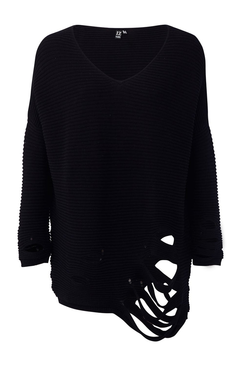 Black | Distressed Knit Jumper