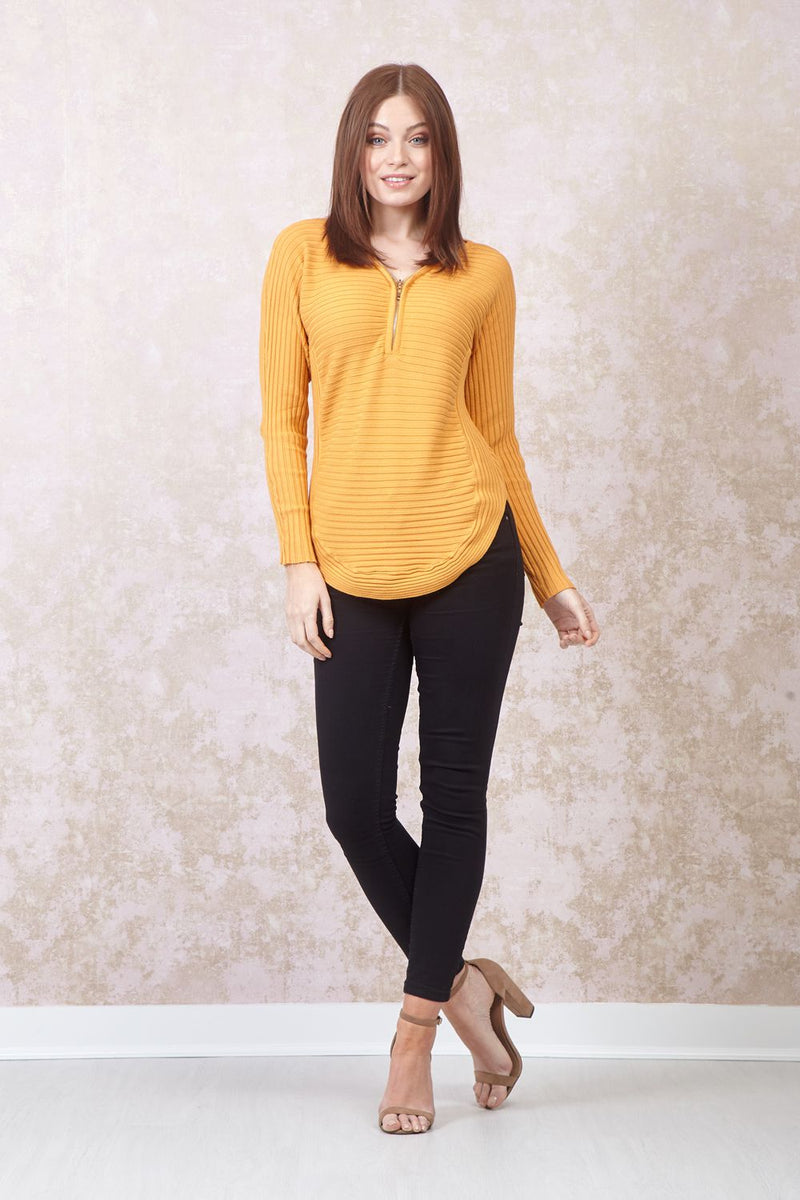Yellow | Ribbed Tunic Top