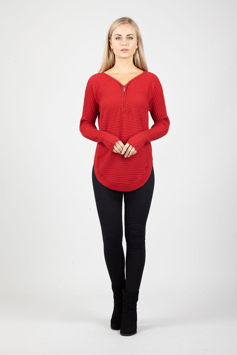 Red | Ribbed Tunic Top | Izabel London