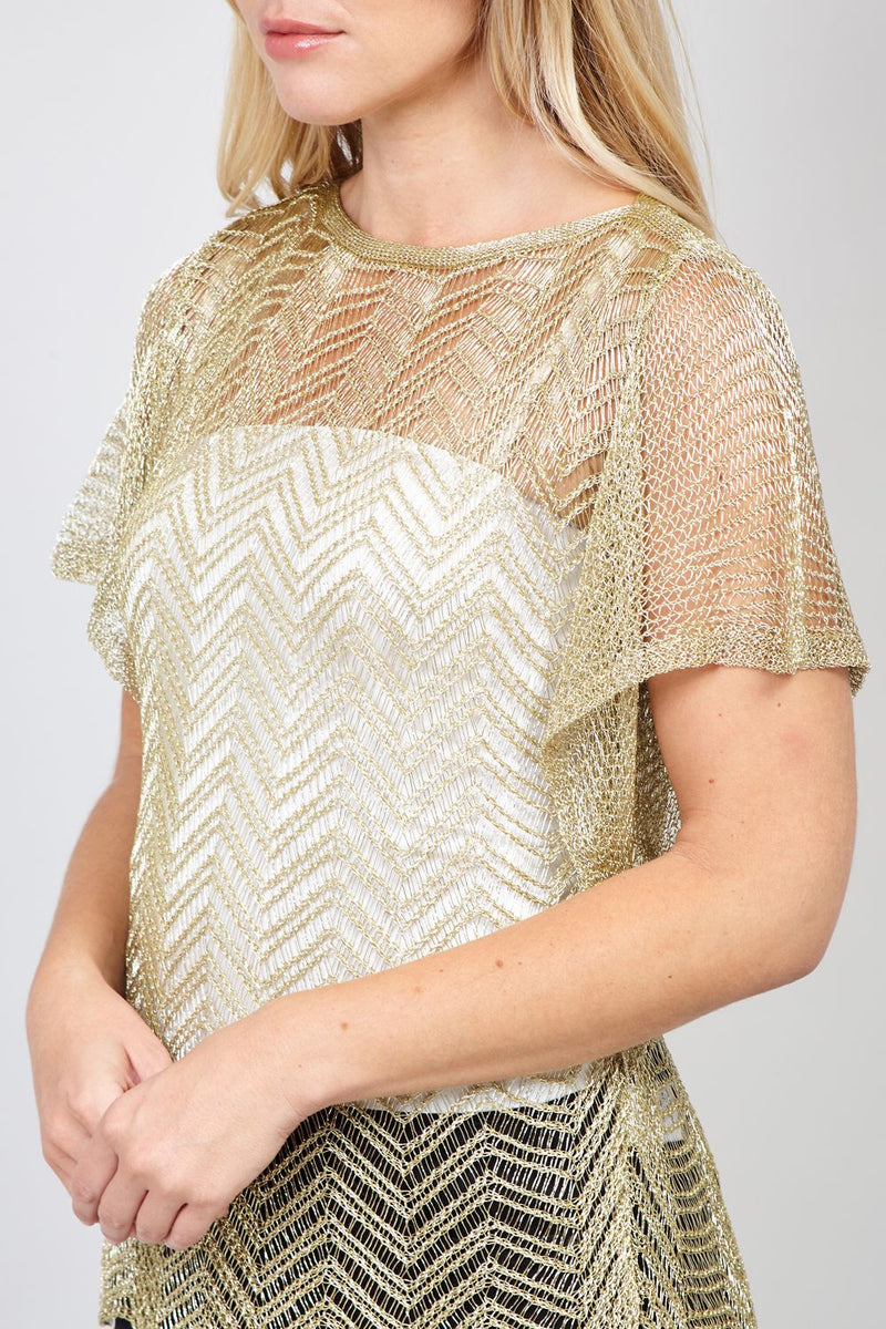 Gold | Sheer Knitted Top