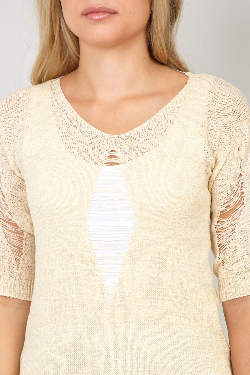 Beige | Distressed Longline Jumper