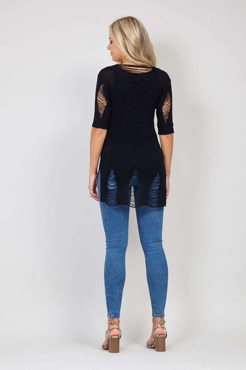 Black | Distressed Longline Jumper