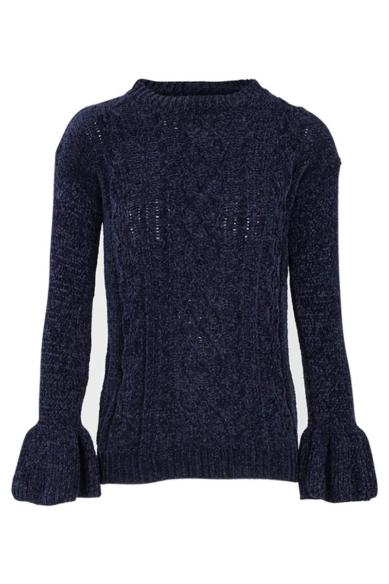 1c972f79084 Flute Sleeve Cable Knit Jumper