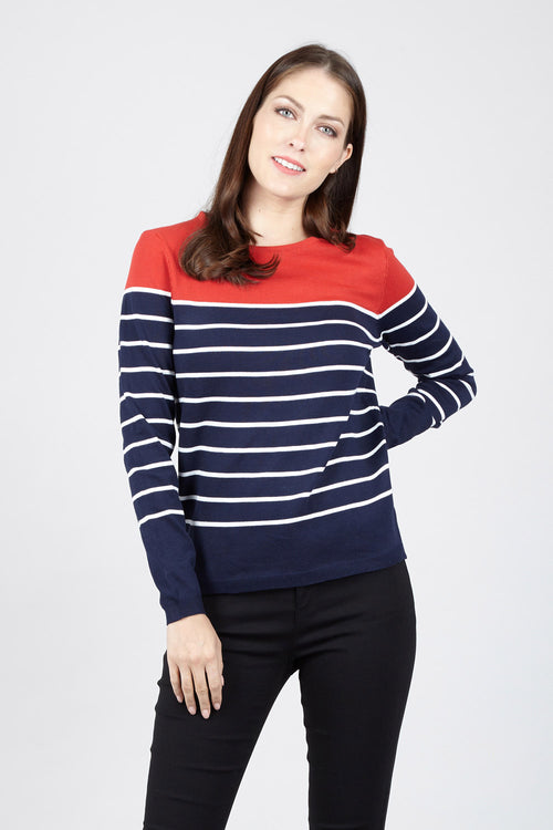 Colour Block Stripe Jumper - Izabel London