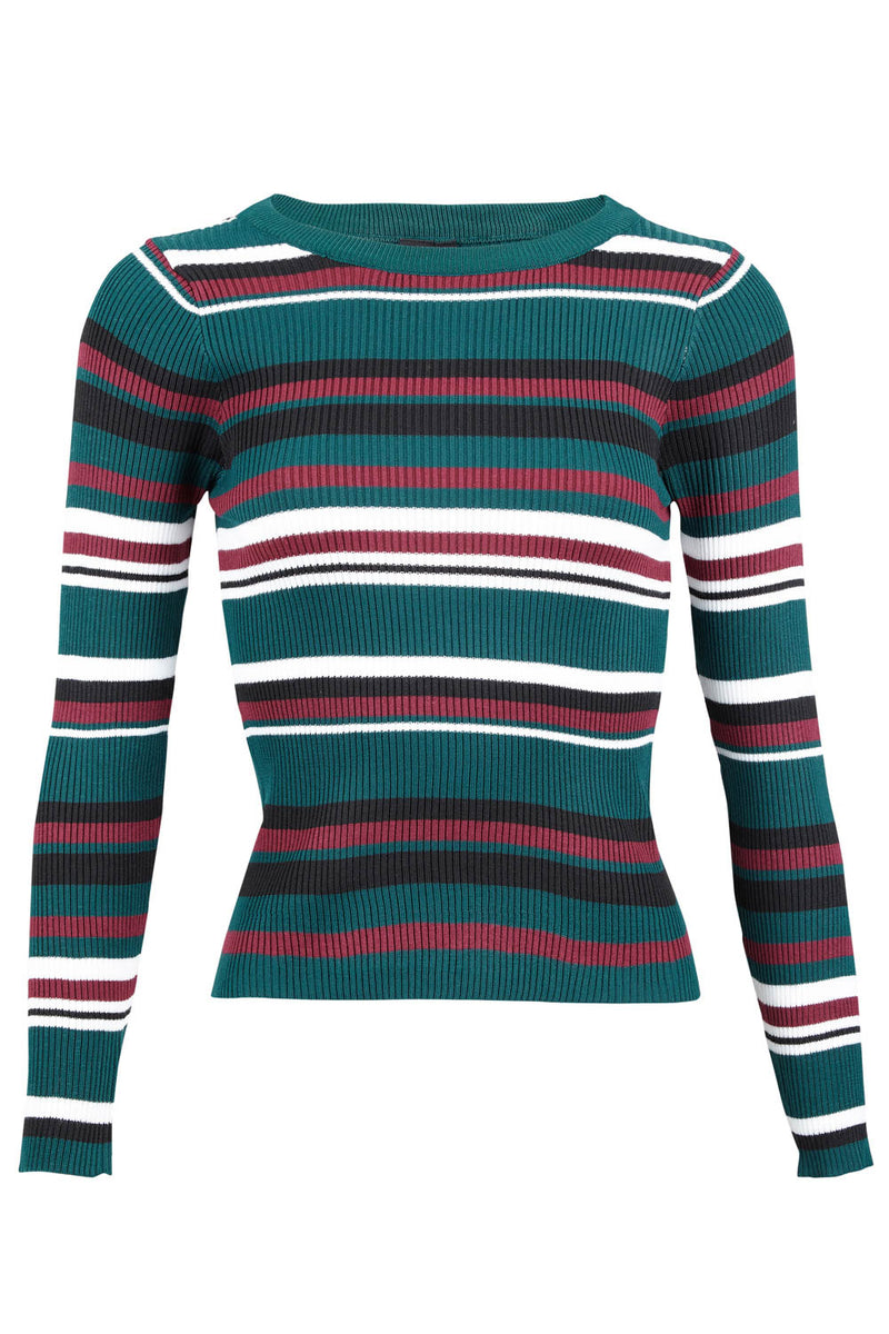 Green | Striped High Neck Top