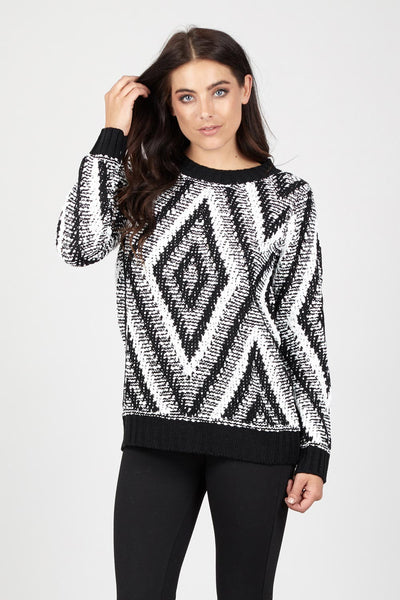 Aztec Knit Jumper - Izabel London