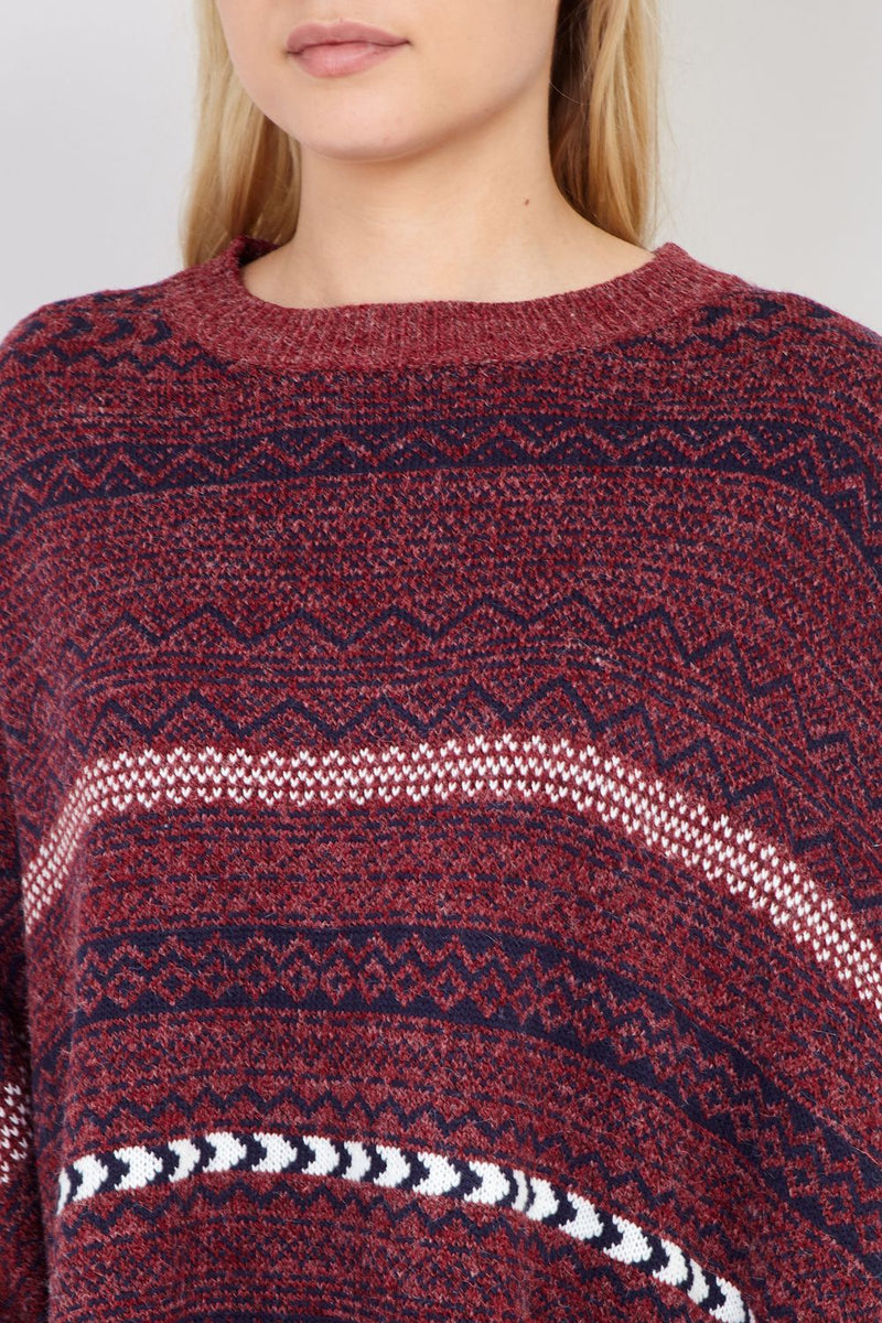 Red | Waterfall Knit Poncho
