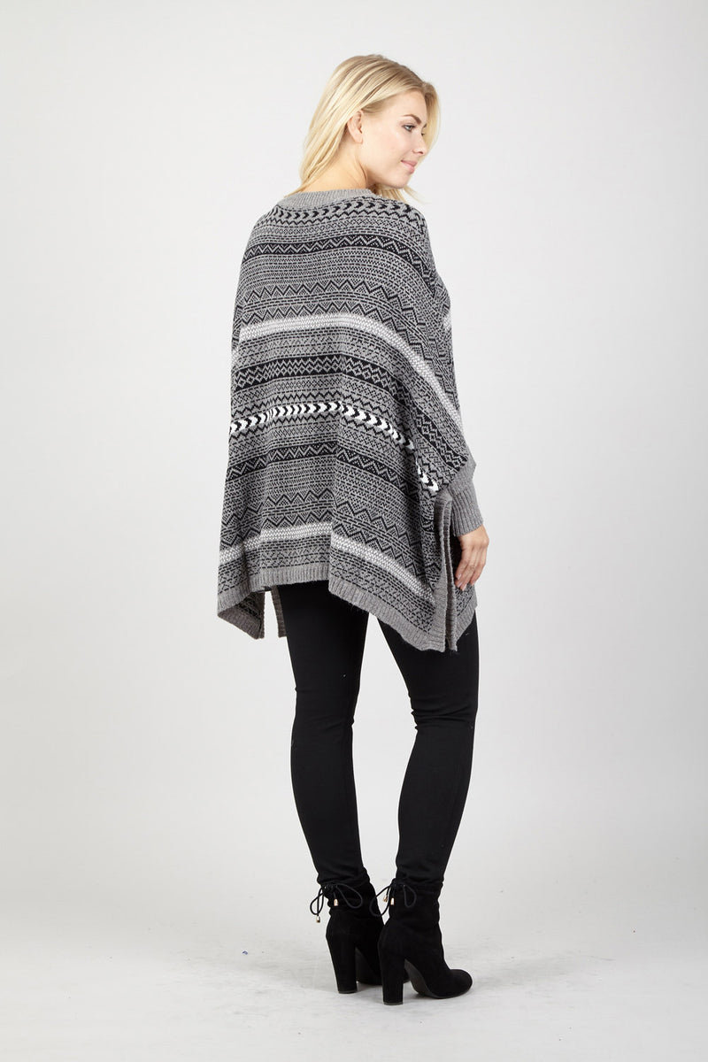Grey | Waterfall Knit Poncho
