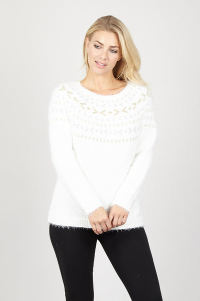 Aztec Eyelash Jumper - Izabel London