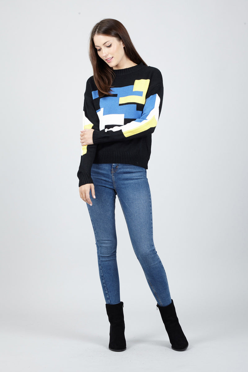 Black | Geo Print Jumper