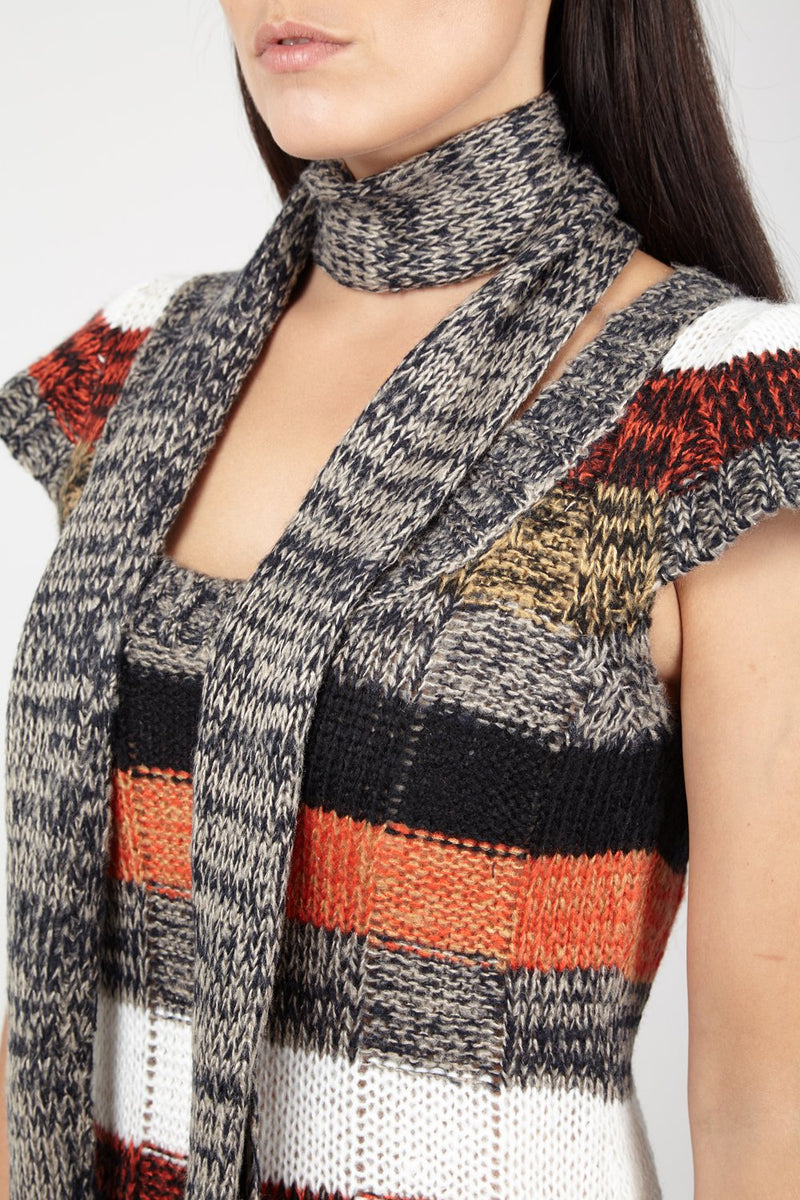 Orange | Stripe Jumper With Scarf