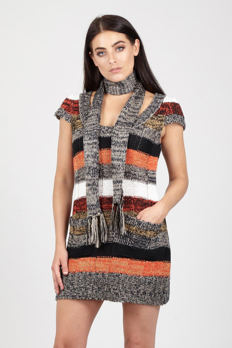 Stripe Jumper With Scarf - Izabel London