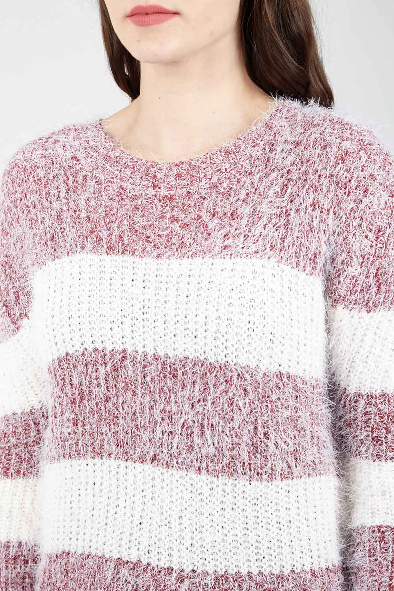Eyelash Striped Jumper - Izabel London