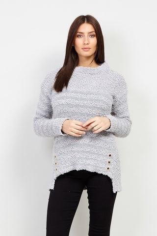 Dip Back Marl Knit Top With Lace Panels