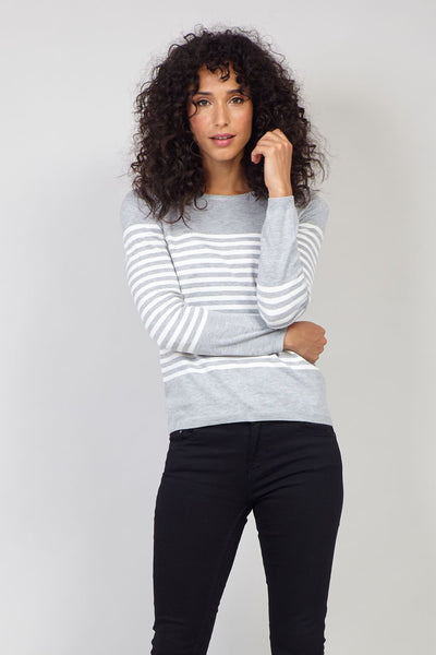 Grey | Striped Knitted Pullover Sweater