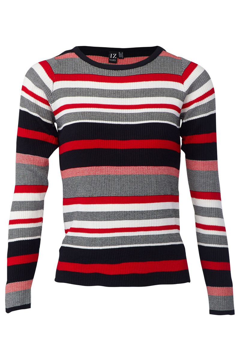 Red | Striped Knitted Pullover