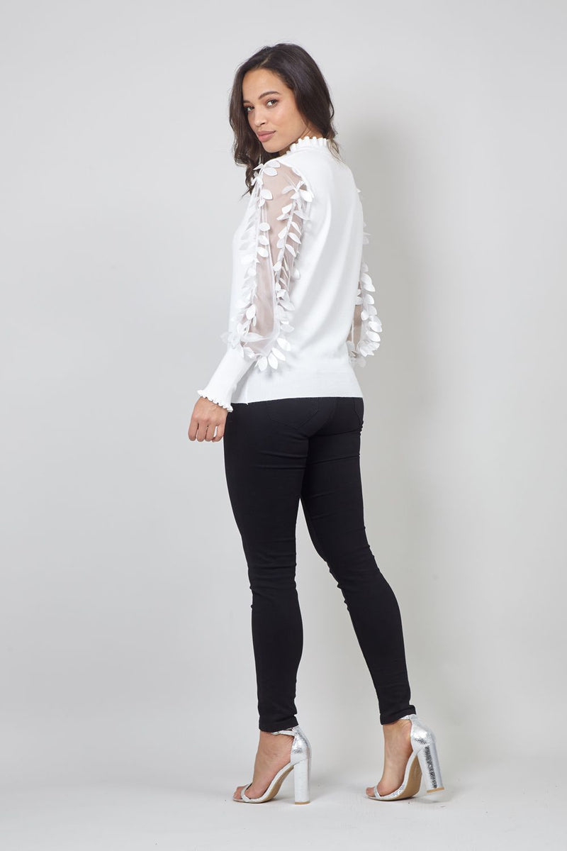 White | Sheer Organza Feathered Sleeve Jumper