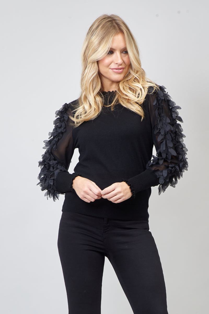 BLACK | High Neck Sheer Feathered  Sleeve Jumper