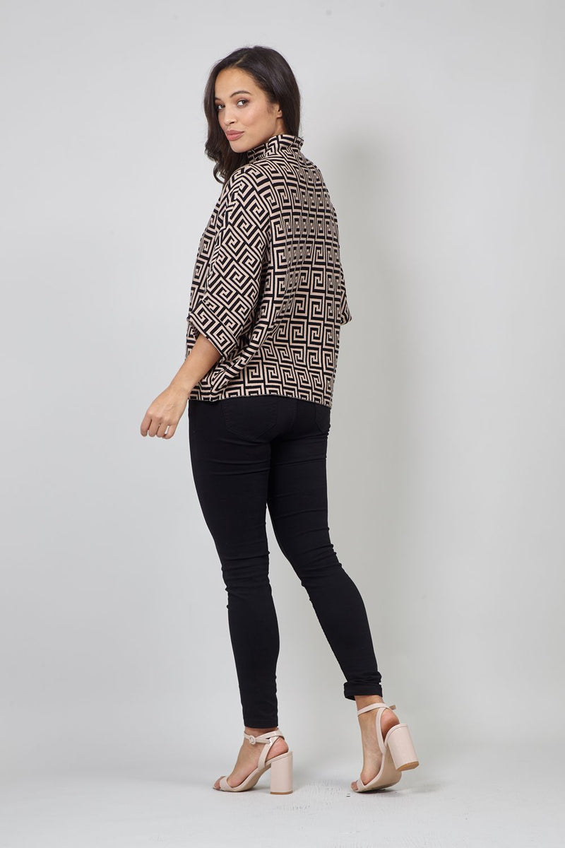 Black | High Neck Geo Print Jumper
