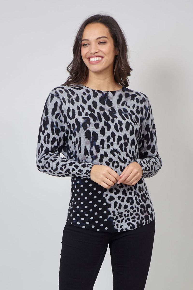 Black | Animal Print Knitted Top