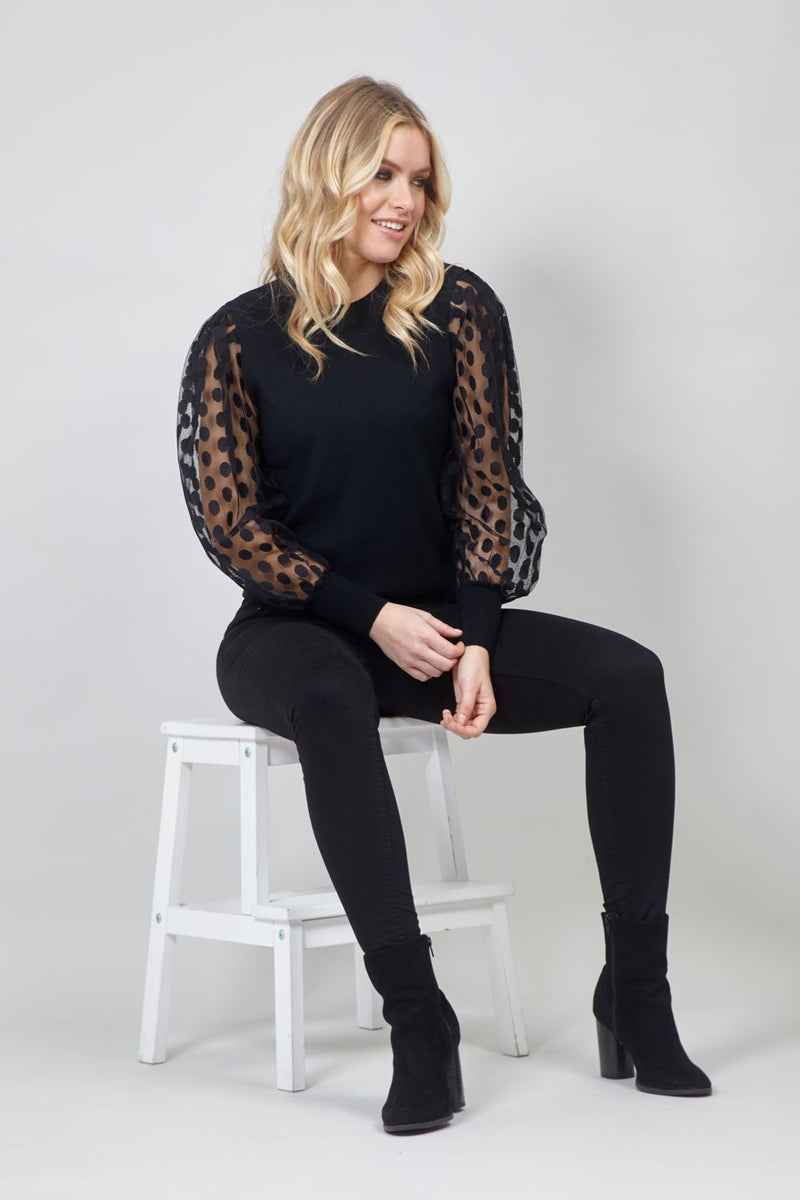 Black | Polka Dot Organza Sleeve Jumper