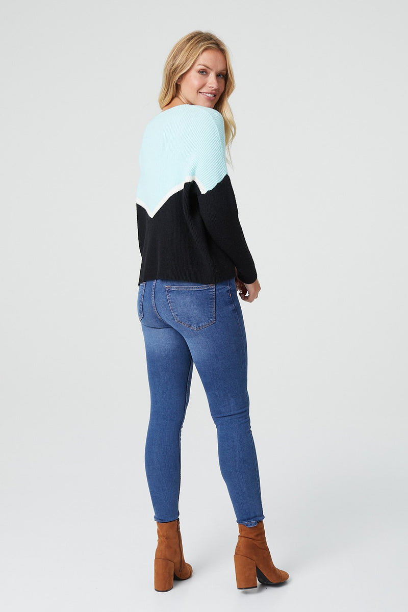 MULTI BLUE | Colour Block Long Sleeve Jumper