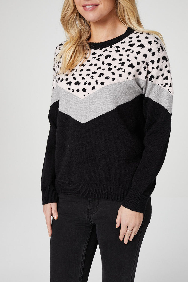 Pink | Animal Colour Block Slouchy Sweater
