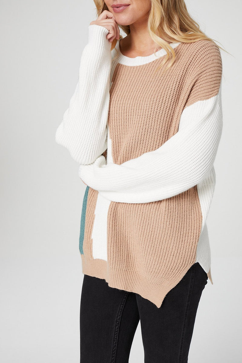 Brown | Colour Block Ribbed Knit Jumper