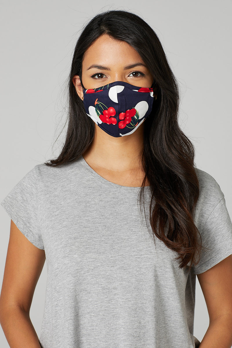 Navy | Polka Dot Reusable Face Covering