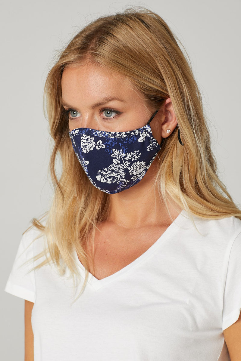 Navy | Ditsy Floral Reusable Face Covering
