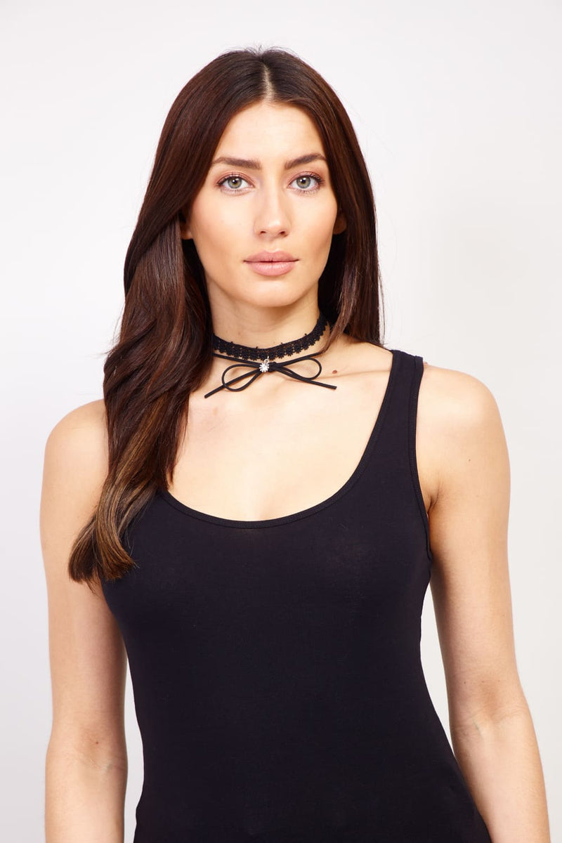 Black | Lace Bow and Charm Choker | Izabel London