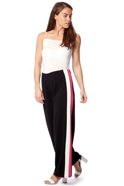 Stripe Side Wide Leg Trousers - Izabel London