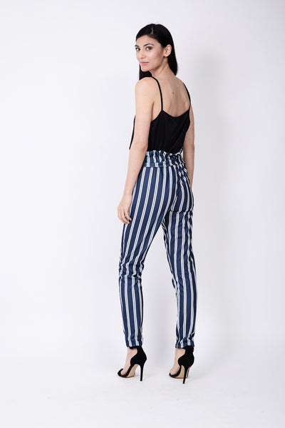 Striped Paperbag Trousers - Izabel London