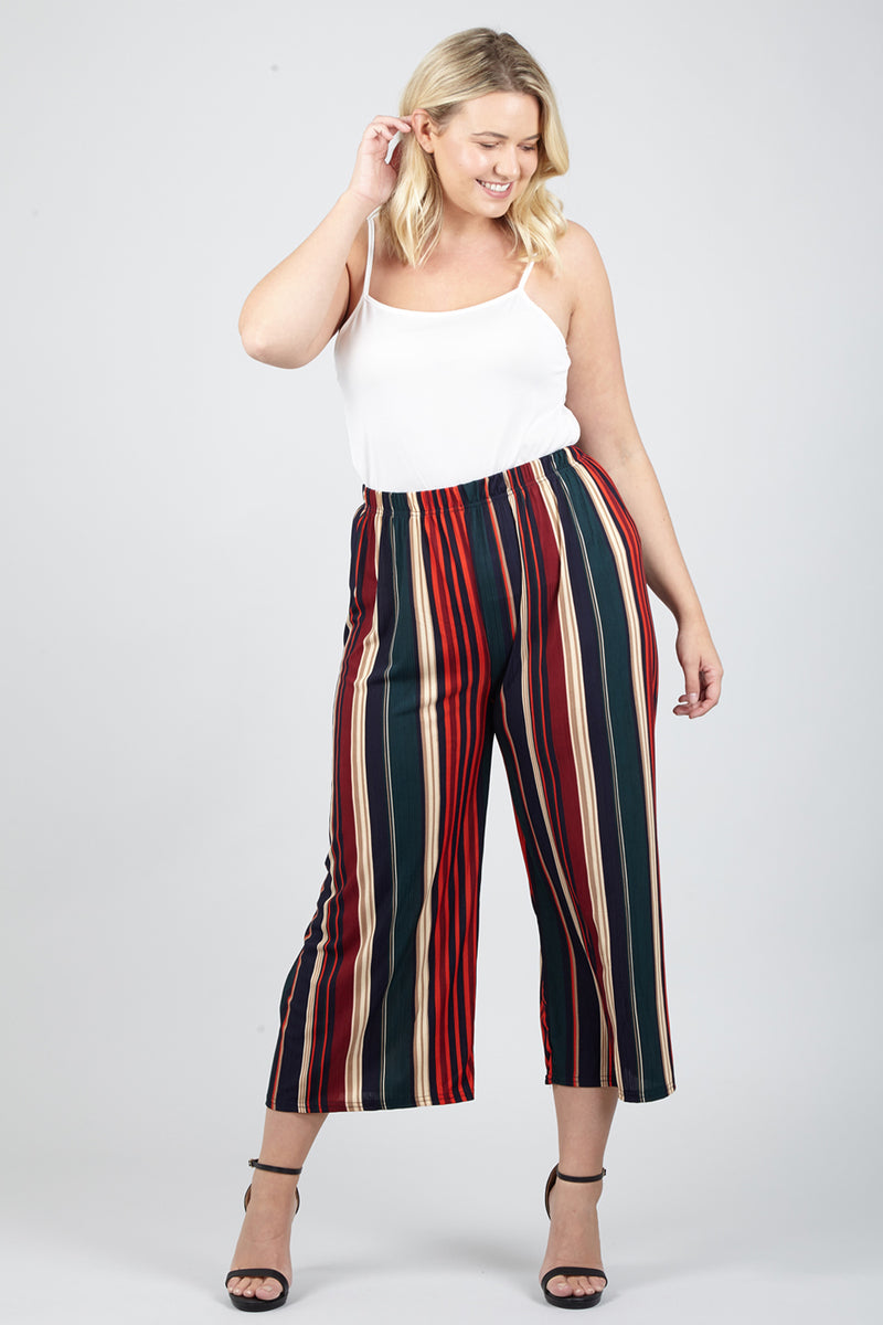Red | Curve Striped Palazzo Trousers | Izabel London