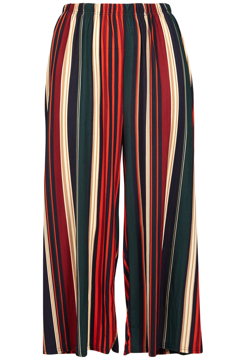 Curve Striped Palazzo Trousers - Izabel London