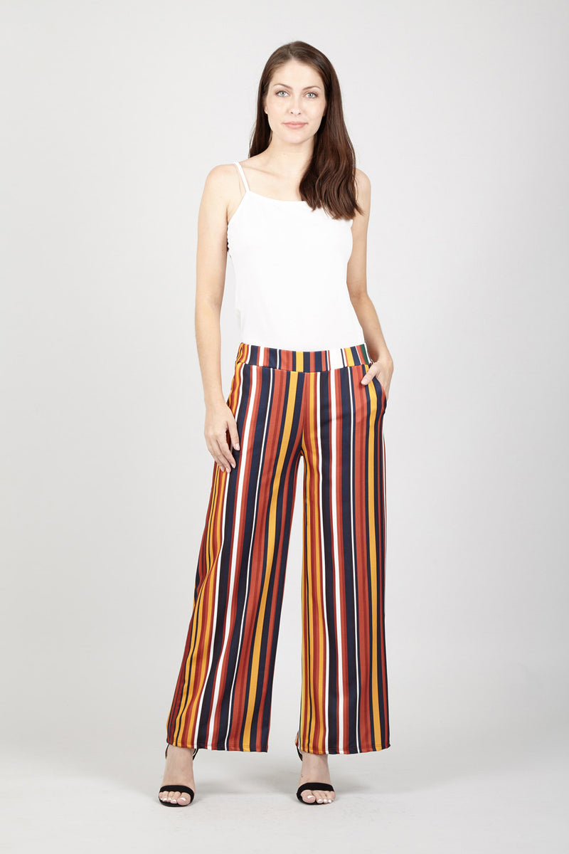 Yellow | Colourful Stripe Palazzo Trousers