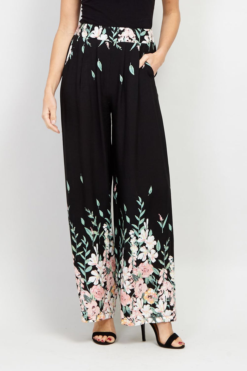 Floral Wide Leg Trousers - Izabel London