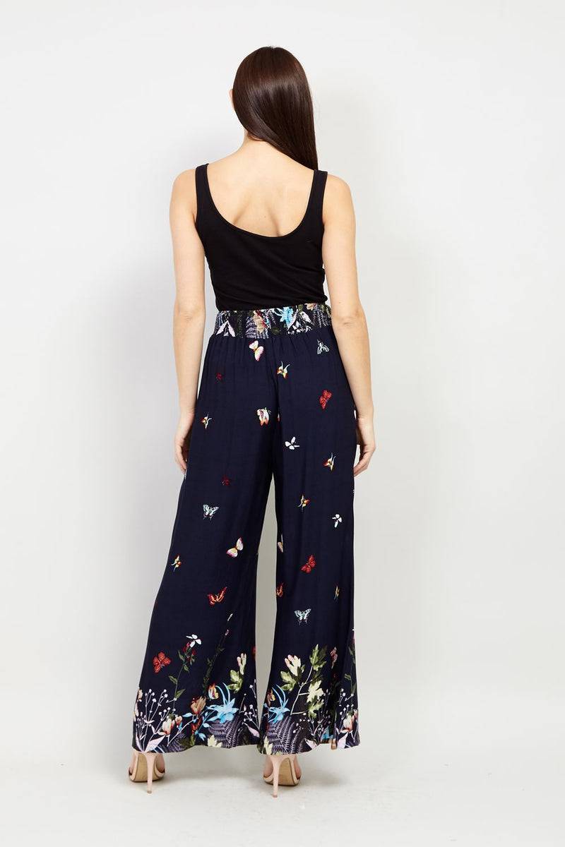 Navy | Butterfly Print Wide Leg Trousers