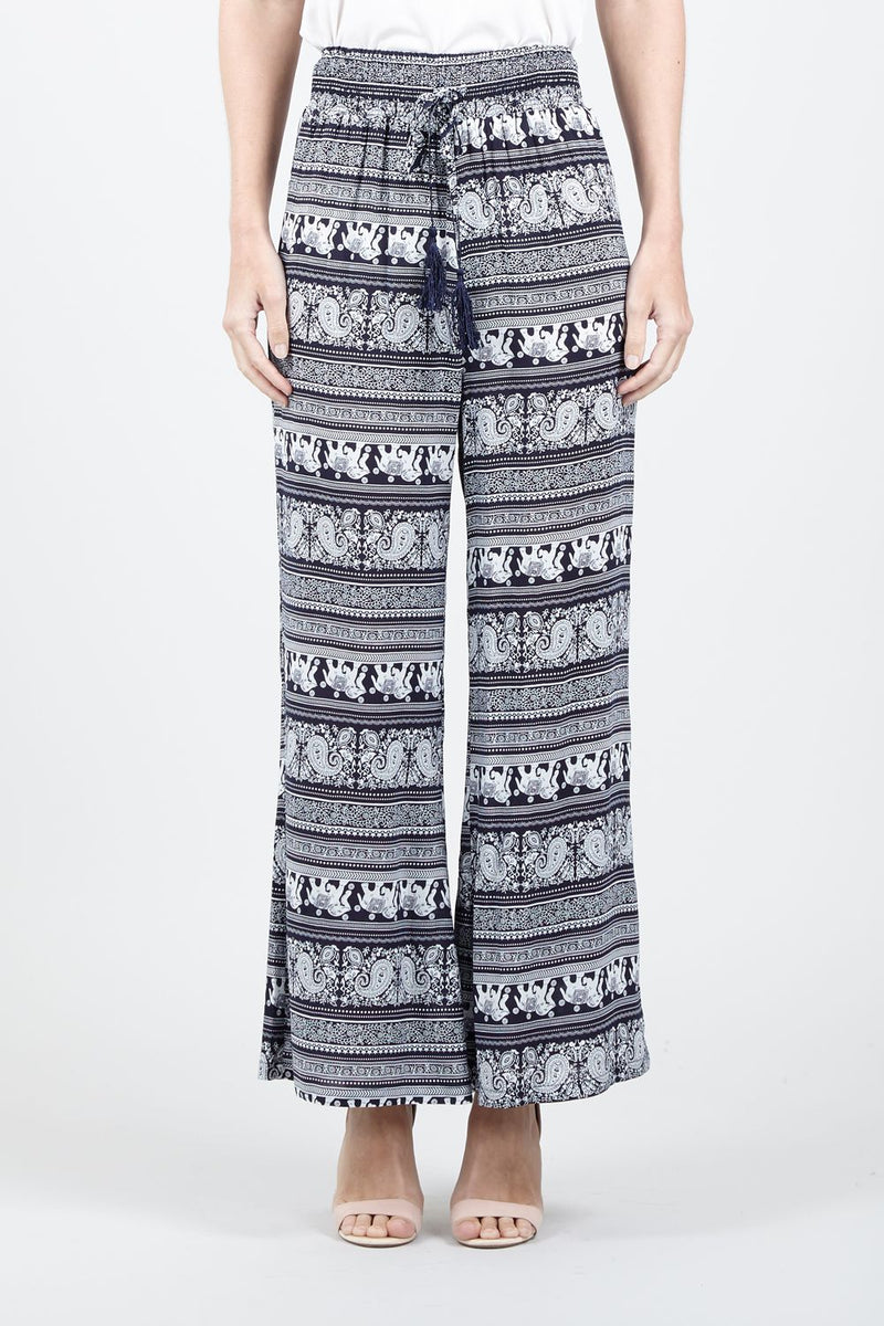 Navy | Elephant Print Wide Leg Trousers